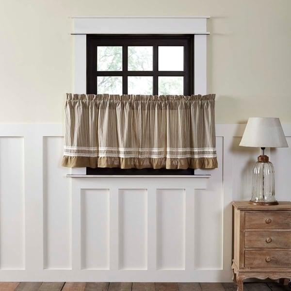 Farmhouse Kitchen Curtains VHC Kendra Stripe Tier Pair Rod Pocket Cotton Striped Lace Cotton Burlap. Opens flyout.