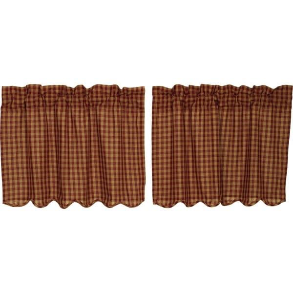 Primitive Kitchen Curtains VHC Check Tier Pair Rod Pocket Cotton