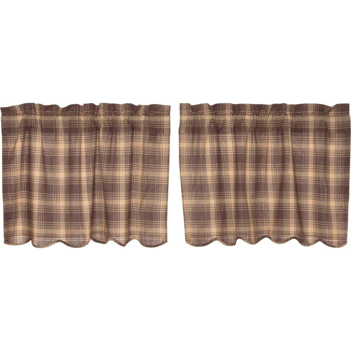 TARTAN RED PLAID Swag Set Lined Country Plaid Cotton Rustic Cabin Lodge VHC