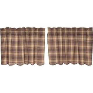 Brown Rustic Kitchen Curtains VHC Dawson Star Tier Pair Rod Pocket Cotton Plaid