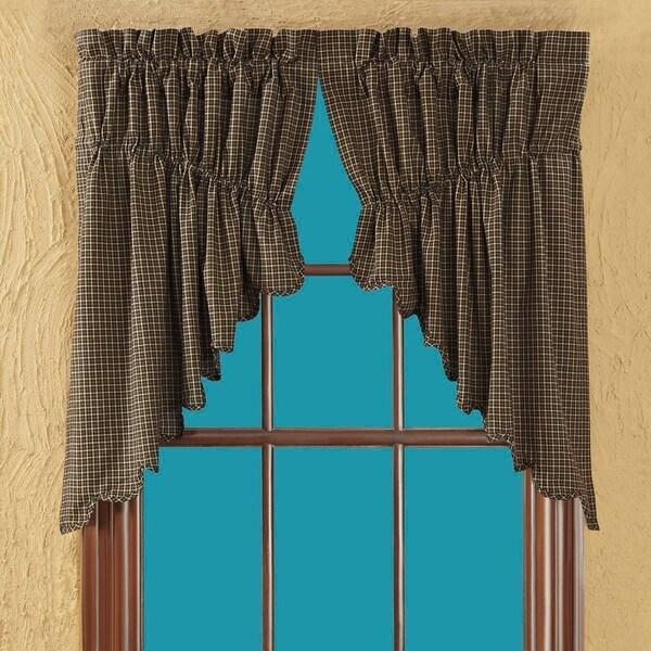 Black Primitive Kitchen Curtains VHC Kettle Grove Plaid Prairie Swag Pair Rod Pocket Cotton - Prairie Swag 36x36x18