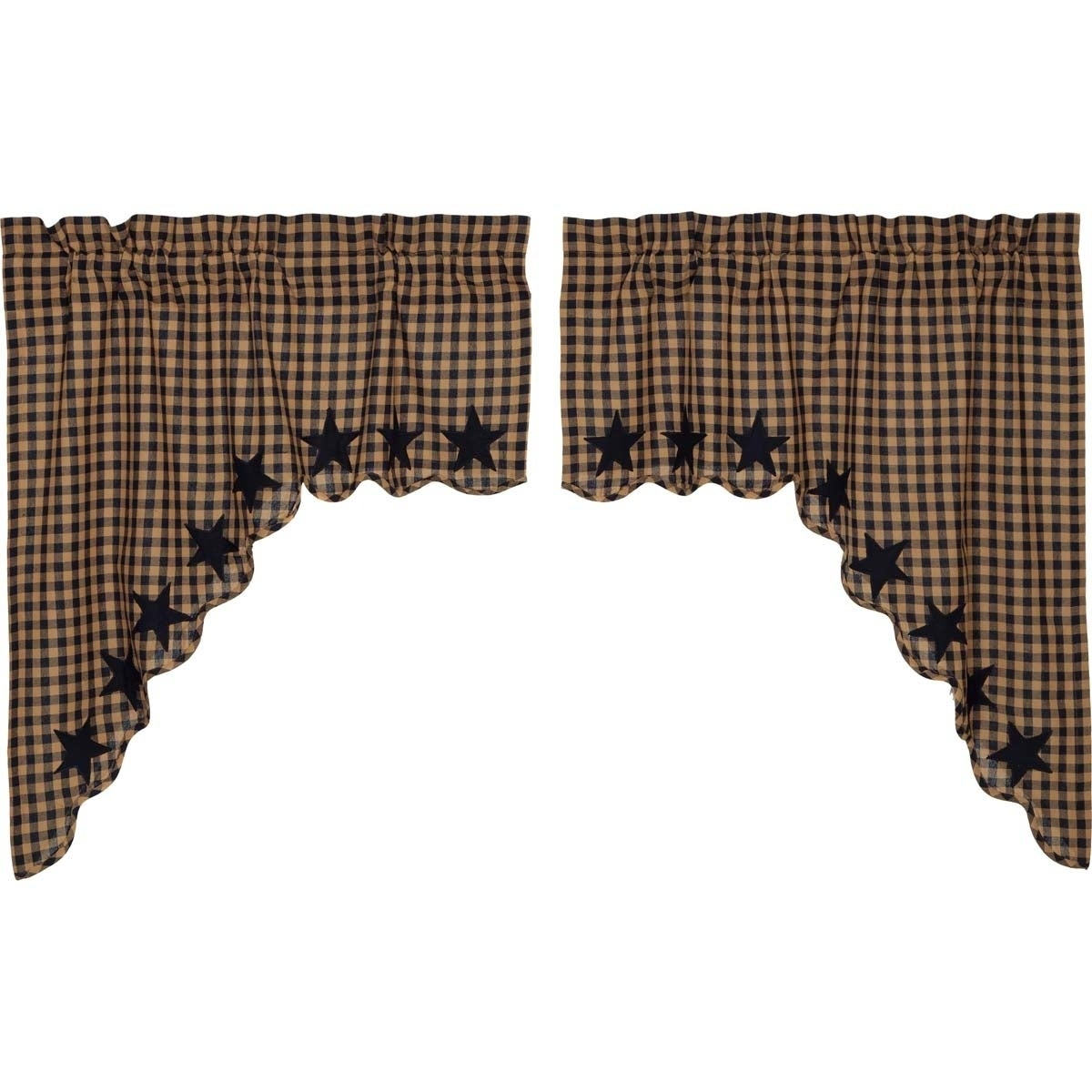 Details about Primitive Kitchen Curtains VHC Star Swag Pair Rod Pocket