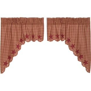 Primitive Kitchen Curtains VHC Star Swag Pair Rod Pocket Cotton Star Appliqued - Swag 36x36x16