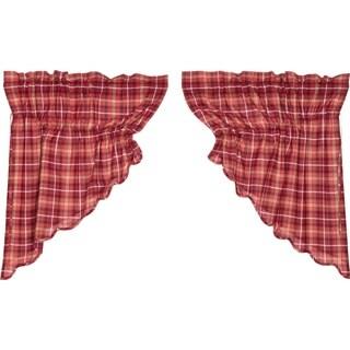 Red Rustic Kitchen Curtains VHC Braxton Prairie Swag Pair Rod Pocket Cotton Plaid - 36x36
