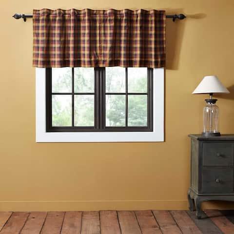 Red Primitive Kitchen Curtains VHC Heritage Farms Tier Pair Rod Pocket Cotton Plaid
