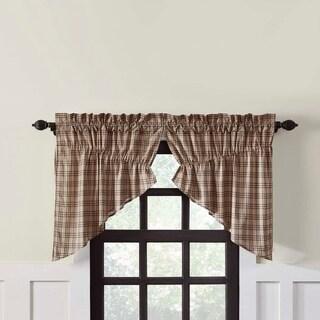 Farmhouse Kitchen Curtains VHC Sawyer Mill Plaid Prairie Swag Pair Rod Pocket Cotton - Prairie Swag 36x36x18