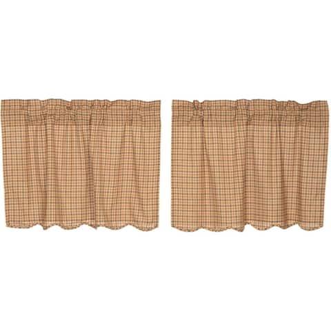 Tan Rustic Kitchen Curtains VHC Millsboro Tier Pair Rod Pocket Cotton Plaid