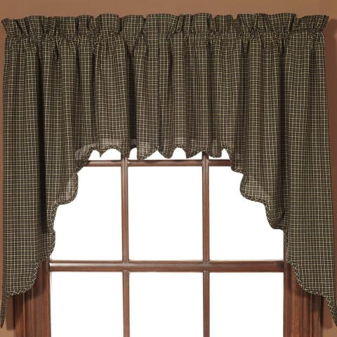 Primitive Kitchen Curtains Kettle Grove Plaid Swag Pair Rod Pocket - Swag 36x36x16