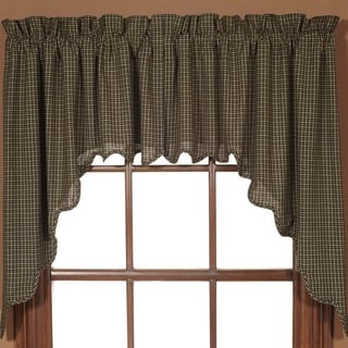 Black Primitive Kitchen Curtains VHC Kettle Grove Plaid Swag Pair Rod Pocket Cotton - Swag 36x36x16