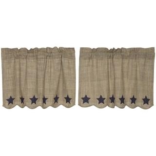 Tan Primitive Kitchen Curtains VHC Vincent Tier Pair Rod Pocket Cotton Star Appliqued