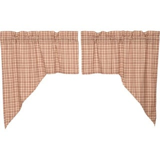 White Rustic Kitchen Curtains VHC Tacoma Swag Pair Rod Pocket Cotton Plaid - Swag 36x36x16