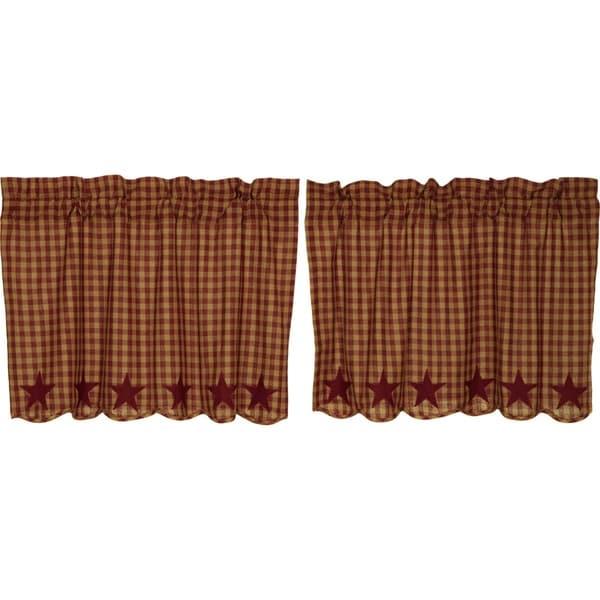 Primitive Kitchen Curtains VHC Star Tier Pair Rod Pocket Cotton Star Appliqued. Opens flyout.