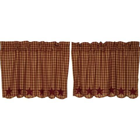 Primitive Kitchen Curtains VHC Star Tier Pair Rod Pocket Cotton Star Appliqued