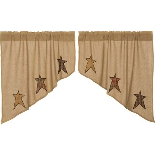 "Stratton Burlap Applique Star Swag Set - 36"" x 36"""