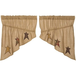 "Stratton Burlap Applique Star Prairie Swag Set - 36"" x 36"""