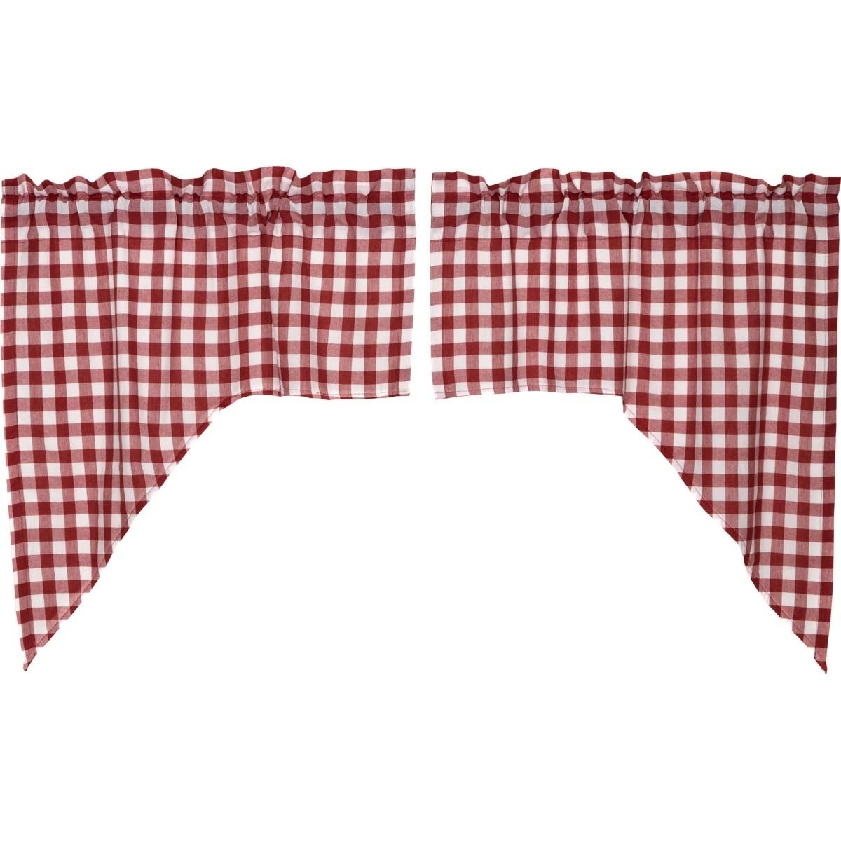 "VHC Brands Buffalo Red Check Lined Swag Set - 36"" x 36"", ..."