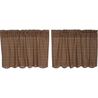 Brown Rustic Kitchen Curtains VHC Prescott Tier Pair Rod Pocket Cotton Plaid