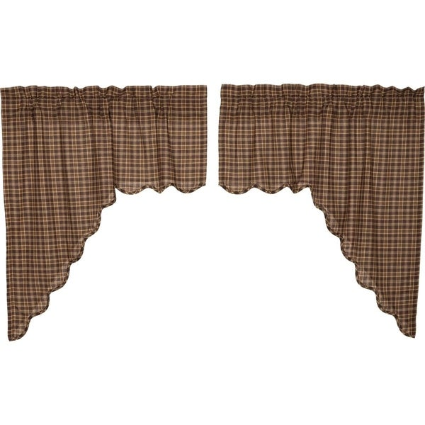 Charmant Shop Brown Rustic Kitchen Curtains VHC Prescott Swag Pair Rod Pocket Cotton  Plaid   36x36   On Sale   Free Shipping On Orders Over $45   Overstock   ...