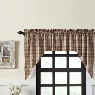 Farmhouse Kitchen Curtains VHC Sawyer Mill Plaid Swag Pair Rod Pocket Cotton - Swag 36x36x16