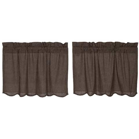 Black Primitive Kitchen Curtains VHC Kettle Grove Plaid Tier Pair Rod Pocket Cotton