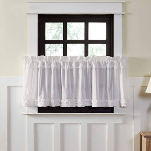 White Farmhouse Kitchen Curtains VHC White Ruffled Sheer Tier Pair Rod Pocket Cotton Solid Color Ruffling Sheer