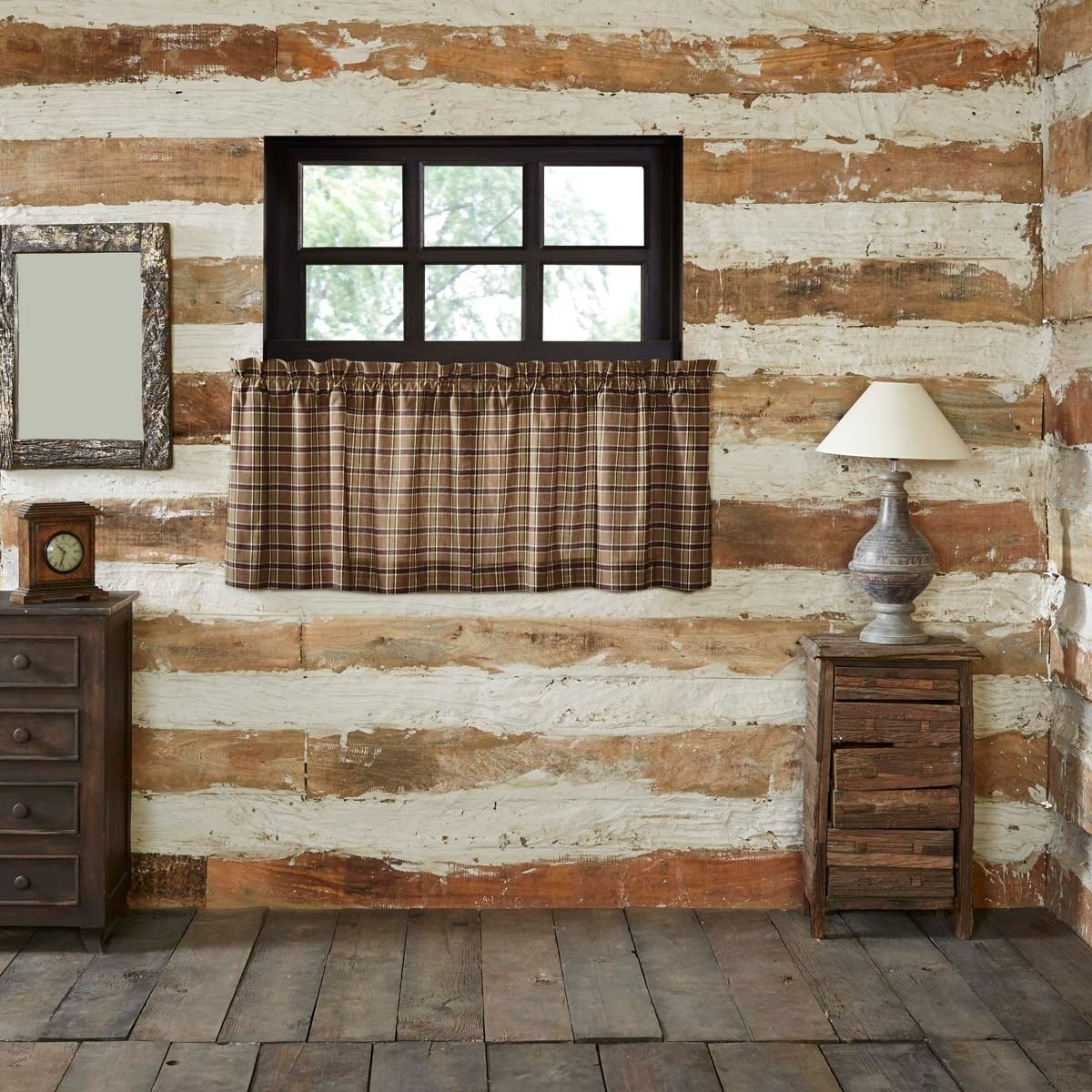 Tan Rustic Kitchen Curtains VHC Wyatt Tier Pair Rod Pocket Cotton Plaid