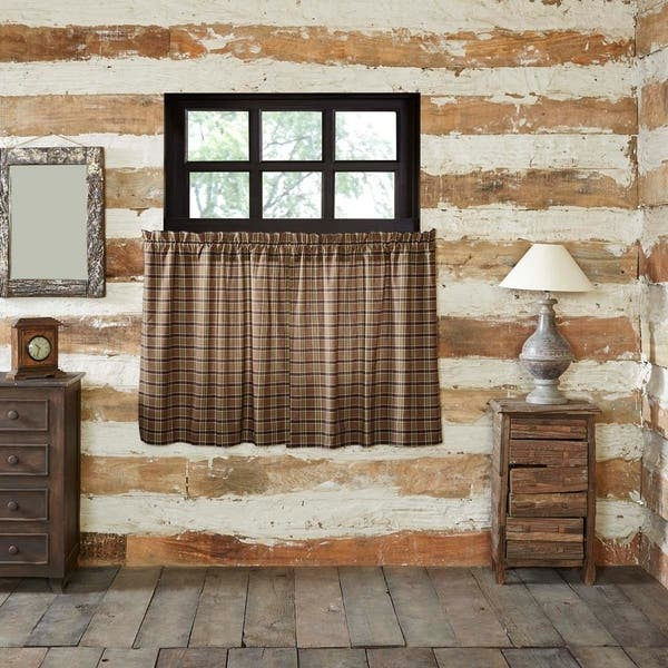 Shop Tan Rustic Kitchen Curtains VHC Wyatt Tier Pair Rod ...