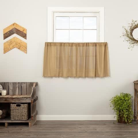 Farmhouse Kitchen Curtains VHC Tobacco Cloth Tier Pair Rod Pocket Cotton Solid Color Tobacco Cloth