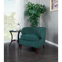 Chic Home Orlando Accent Side Club Chair in Chenille Upholstery & Polished Brass Finish Nailheads