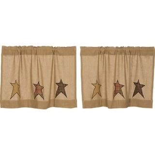 Tan Primitive Kitchen Curtains VHC Stratton Burlap Star Tier Pair Rod Pocket Cotton Star Appliqued Cotton Burlap