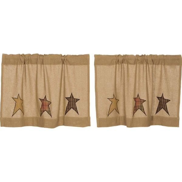 Tan Primitive Kitchen Curtains VHC Stratton Burlap Star Tier Pair Rod Pocket Cotton Star Appliqued Cotton Burlap. Opens flyout.