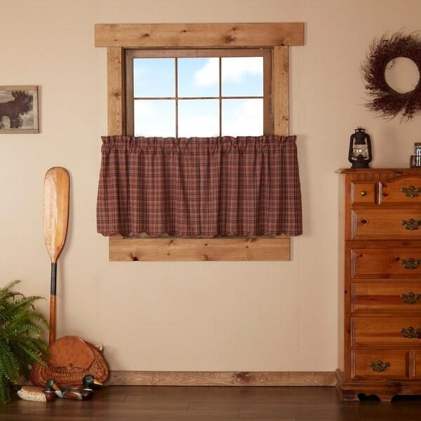 Red Rustic Kitchen Curtains VHC Parker Tier Pair Rod Pocket Cotton Plaid