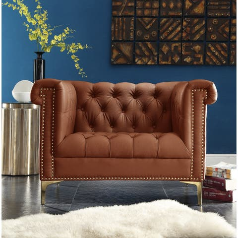 Chic Home Patton Brown PU Leather Button-tufted Club Chair with Goldtone Nailhead Trim and Y-leg