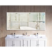 U.S. Made Bright White Metal Framed Oversized Double Vanity Mirror