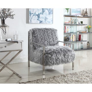 Chic Home Raisa Accent Side Chair with Stylish Faux Fur and Brass Stainless Steel Frame