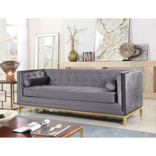 Chic Home Evie Club Sofa Tufted Velvet Plush Cushion Couch