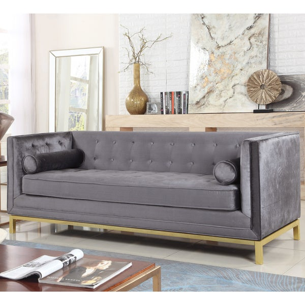 Chic Home Evie Club Sofa Tufted Velvet Plush Cushion Couch. Opens flyout.