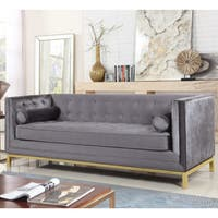 Chic Home Evie Club Sofa Tufted Velvet Plush Cushion Couch, Modern Contemporary