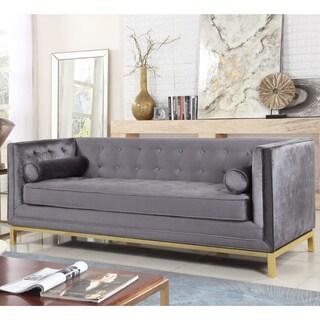 Chic Home Evie Club Sofa Tufted Velvet Plush Cushion Couch