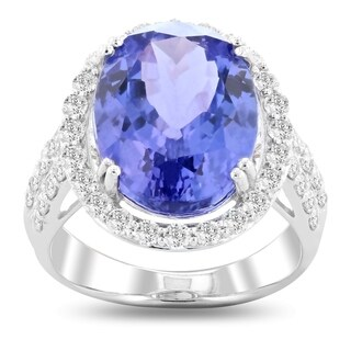 Auriya Platinum Certified 8 3/4ct Tanzanite and 1 1/10ct TDW Diamond Ring - White (More options available)