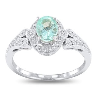 Auriya 18k White Gold Certified 3/4ct Paraiba Tourmaline and 1/3ct TDW Diamond Ring