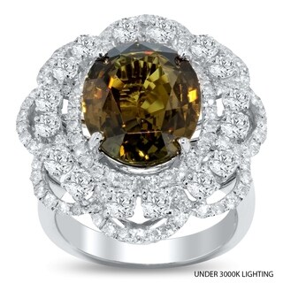 Auriya 18k White Gold Certified 8 1/4ct Alexandrite Gem and 2 3/8ct TDW Diamond Cocktail Ring