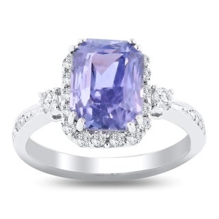 Auriya 18k White Gold Certified 4ct Rare Color Change Sapphire and 3/8ct TDW Diamond Halo Engagement Ring