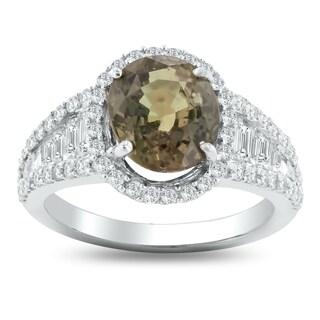 Auriya 14k White Gold Certified 3 3/4ct Rare Sapphire and 1 1/10ct TDW Halo Diamond Engagement Ring