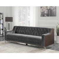 Chic Home Parker Sofa Button Tufted Velvet Walnut Finish Swoop Arm Wood Frame, Modern Contemporary