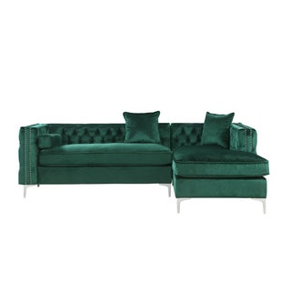 Chic Home Monet Velvet Button Tufted Silver Nailhead Trim Right Facing Sectional Sofa