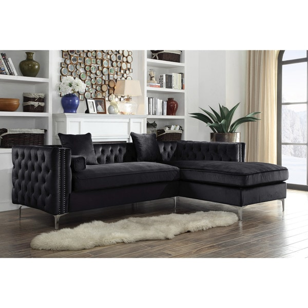 Chic Home Monet Velvet Button-tufted Right-facing Sectional Sofa. Opens flyout.