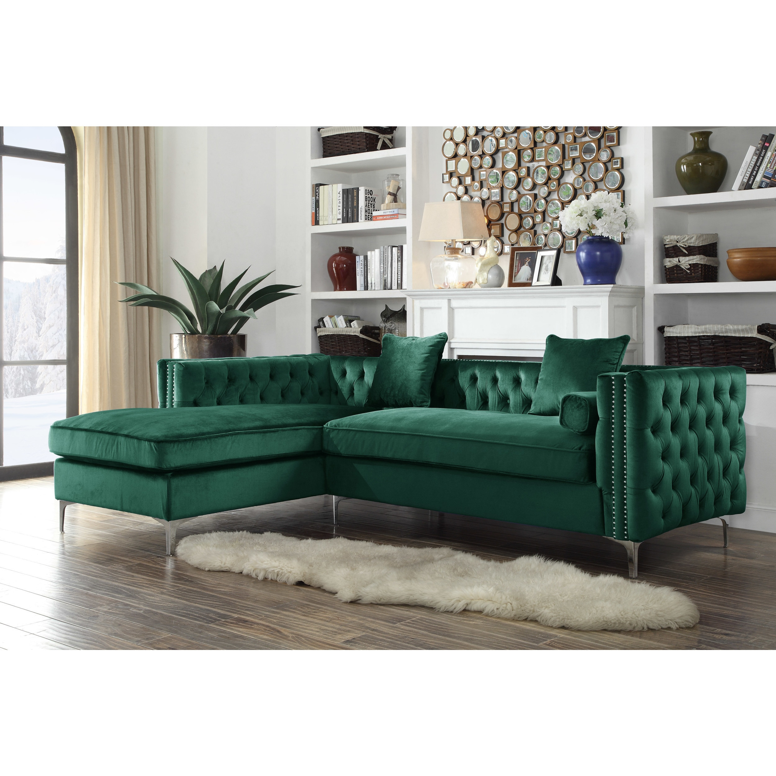 Chic Home Monet Velvet Modern Contemporary Button Tufted with Silver  Nailhead Trim Left Facing Sectional Sofa