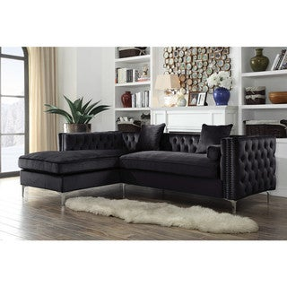 Link to Chic Home Monet Velvet Modern Contemporary Button Tufted with Silver Nailhead Trim Left Facing Sectional Sofa Similar Items in Living Room Furniture