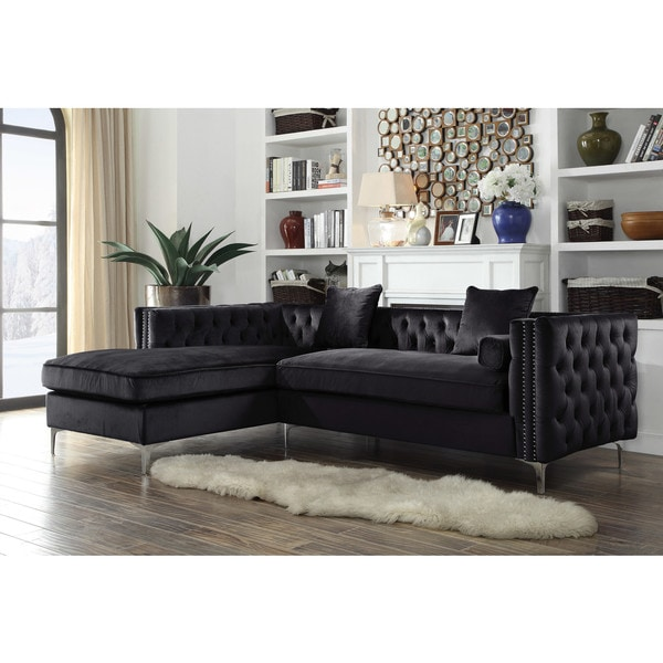 Change Up The Gray Couch With And Chic Black And White: Shop Chic Home Monet Velvet Modern Contemporary Button